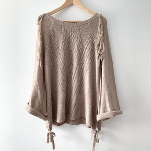 Taupe Fringe Spring Knit Pullover Bell Sleeves